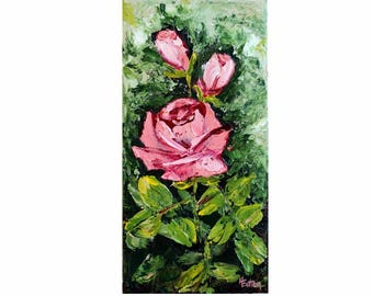 """Pink Roses, Palette Knife Painting, Floral Painting, Rose, Wall Decor, 6""""x 12"""", pink flowers, painting with texture, long stem, Helen Eaton"""
