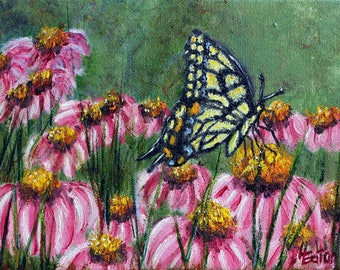 Butterfly Painting, 6x8, Daisies, Pink Daisies, Swallowtail, Yellow Butterfly, Pink Flowers, Echinacea, Original Oil Painting, Helen Eaton