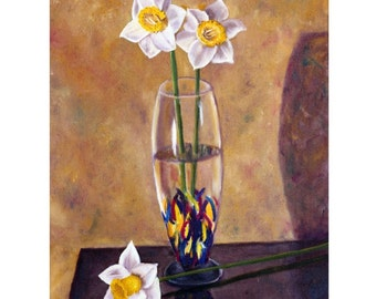 Daffodil, Jonquil, Narcissus, Still Life, Floral Painting, Yellow Flower, Original Oil Painting,  Helen Eaton