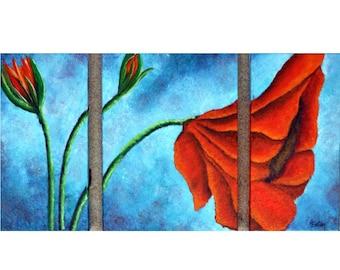 Poppy Painting, Red Poppy, Triptych, Red Flower, Floral Painting, Red Poppy Painting, Three Canvas Painting, Orange Flower, Helen Eaton
