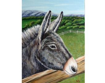 "Little Gray Donkey Painting, Farm Animal Painting, Burro, Original Oil Painting, Don Quixote, donkey, Country Living, 12""x 16"", Helen Eaton"