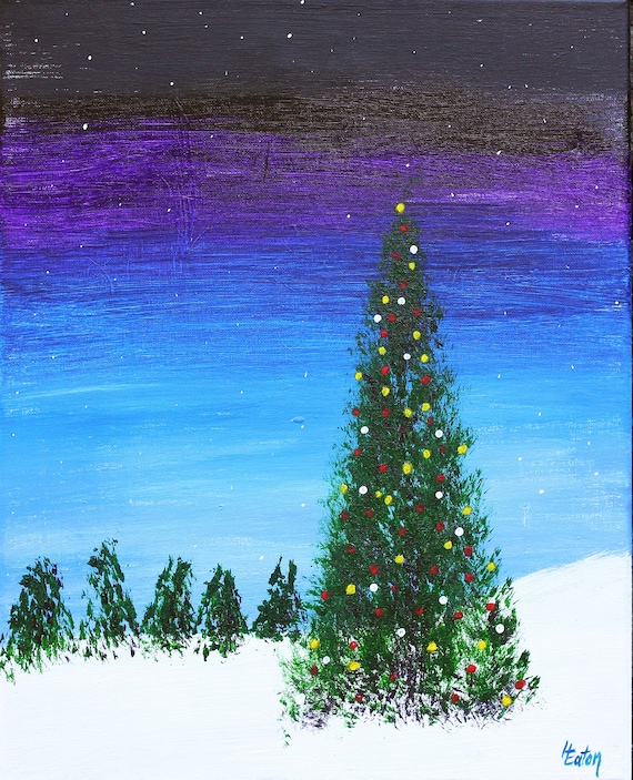 Acrylic Christmas Tree Painting.Christmas Tree In A Snowy Meadow Original Acrylic Painting 16 X 20 Christmas Lights Snowy Landscape Winter Night Sky Helen Eaton