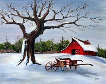 Red Barn & Wheelbarrow in Winter - Oil Painting on 16x20 Wrapped Canvas