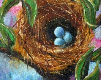 Bird nest painting, robin's eggs, nest with eggs, small canvas, canvas board, three eggs, blue eggs,  robin's nest, nature, Helen Eaton