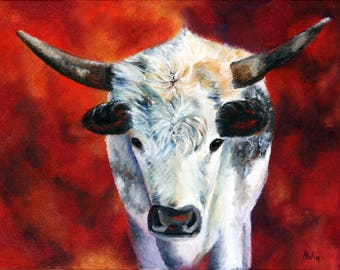 Longhorn painting of black and white cows, cattle from Texas, original oil painting, cow portrait on red background, wall art, Helen Eaton