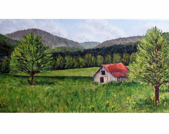 """Barn painting, old barn, farm scene, landscape, 10""""x 20"""" wrapped canvas,Smoky Mountains, country living, barn, mountains, Helen Eaton"""