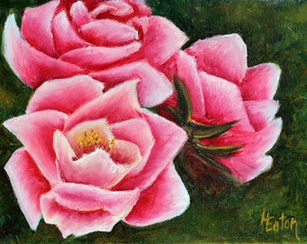 """Pink roses, 6""""x 8"""", roses, rose painting, pink flowers, rose art, wall decor, floral painting, original painting, pink & green, Helen Eaton"""