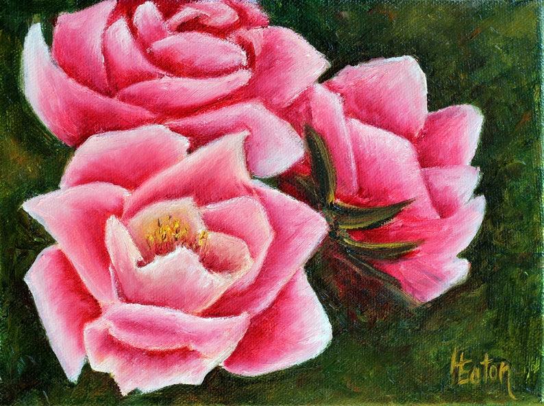 "Pink Flowers Wall Art 8""x 8"""