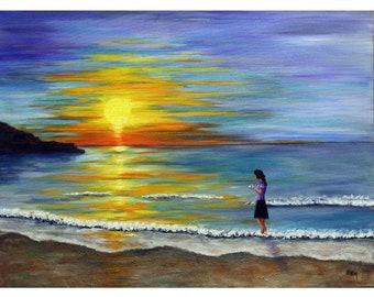 "Sunset painting, sunrise painting, ocean, beach,  shoreline, walking on the beach, island, 18""x 24"" canvas, Bali, Indonesia, Helen Eaton"