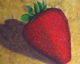 Strawberry Painting, Still Life Painting, Fruit Still LIfe,  Oversize Painting, Large Canvas, Original Oil Painting, Helen Eaton