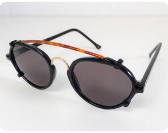 5ab1c737a1 Vintage 1990s Brand New Deadstock Black Penny Round Tortoise Shell Bridge  Bar Steam Punk Rave Sunglasses