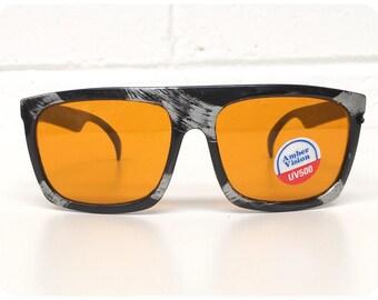 b82660077c Vintage 1990s Brand New Deadstock Black Splash Graphic Amber Lens Aviator  Sunglasses