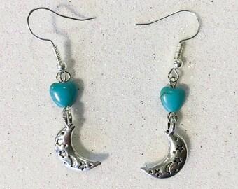 Gemstone Moon Earrings | Turquoise Gemstone Earrings | Moon Star Heart Earrings | Celestial Earrings | Hand Made Earrings