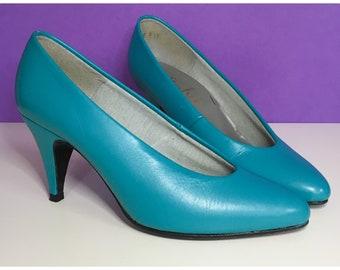 Vintage 80's Shoes   Turquoise Leather Pumps   Vintage Turquoise Leather Heels   1980's Shoes   UK2