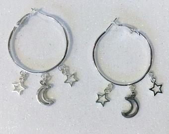 Hoop Earrings | Silver Hoop Earrings | Moon Earrings | Moon Star Earrings | Celestial Earrings | Hand Made Earrings