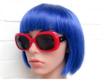 Vintage 1980s Brand New Deadstock Original Lipstick Red Revlon Branded Bug Eye Sunglasses