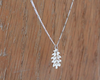Tiny Oak Leaf Necklace - Handmade Silver Necklace with a Little Leaf Pendant