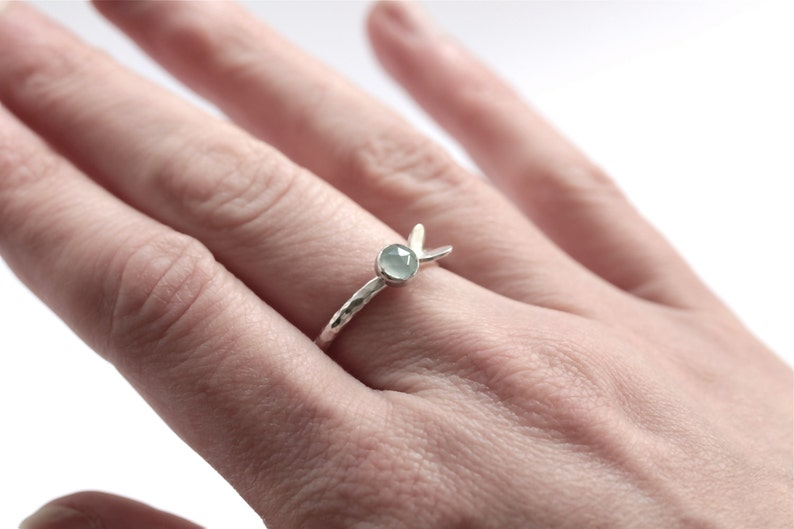 sterling silver ring with faceted aqua blue gemstone Aqua Chalcedony Silver Stacking Ring Silver Stacking Ring