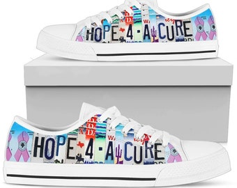 Canvas Low Top Sneaker Casual Skate Shoe Mens Womens Cancer Awareness Hands Release Hope
