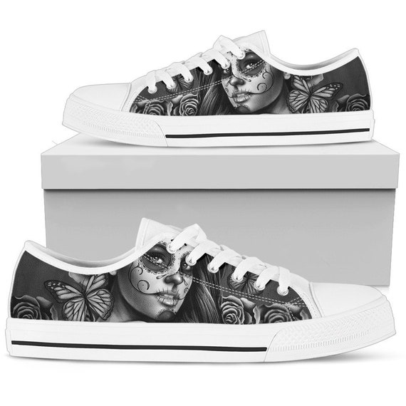 Shoes Day Canvas Low Shipping Women's Low Calavera Top Skulls of Skull Design Calavera Sneakers Sugar Sugar SALE FREE Express Top the Dead qYxa1wv0x