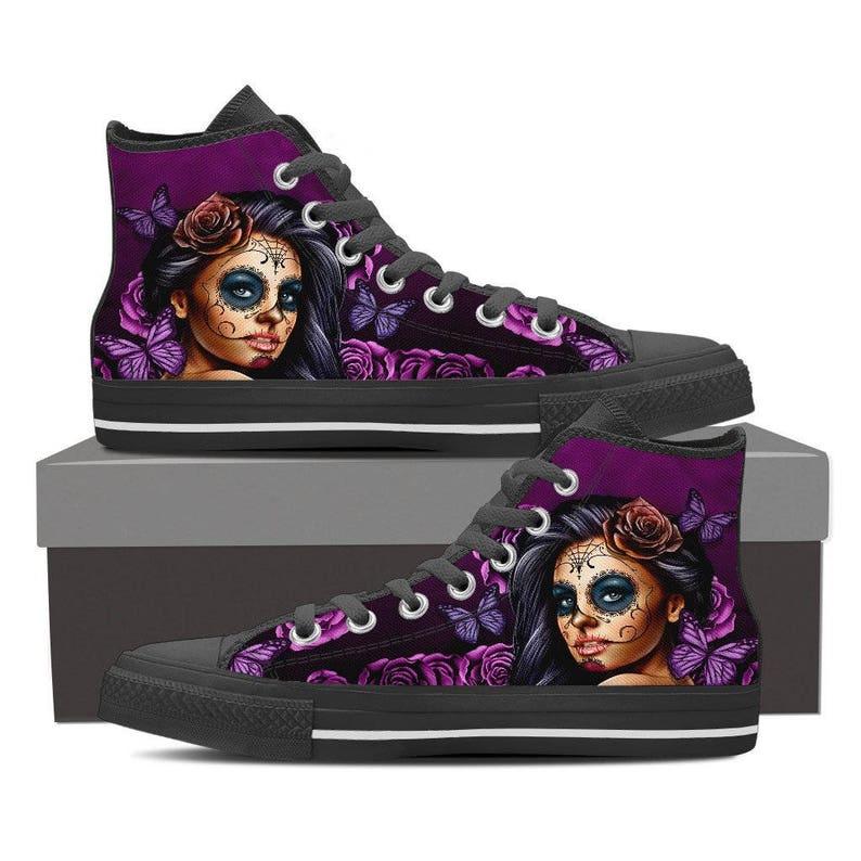 179d8bace15 SALE! Calavera Sugar Skull High Top Women's Canvas Shoes -Calavera Design  Day of the Dead Sugar Skulls Hi Top Sneakers FREE Express Shipping