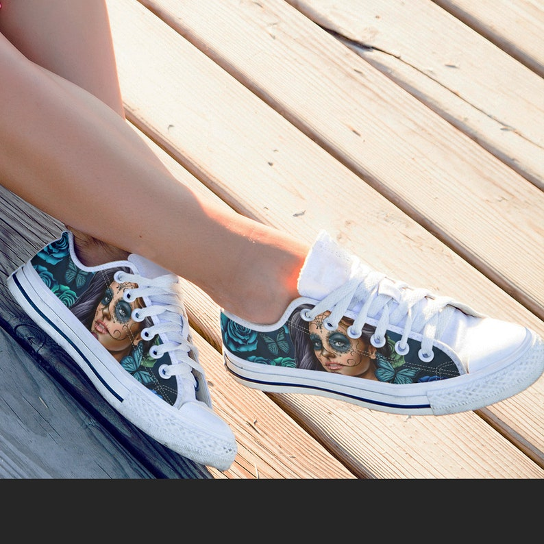 d8017f9757b SALE! Calavera Sugar Skull Low Top Women's Canvas Shoes -Calavera Design  Day of the Dead Sugar Skulls Low Top Sneakers FREE Express Shipping
