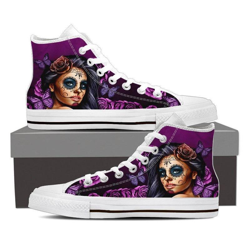 bdf31166bc9 Calavera Women Sugar Skull High Top Canvas Shoes, Day of the Dead, Sugar  Skulls, High Top Sneakers, Dia De Los Muertos, Custom Shoes, Sale