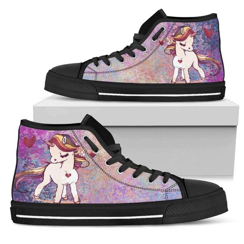 Unicorn Women High Top Canvas ShoesHigh