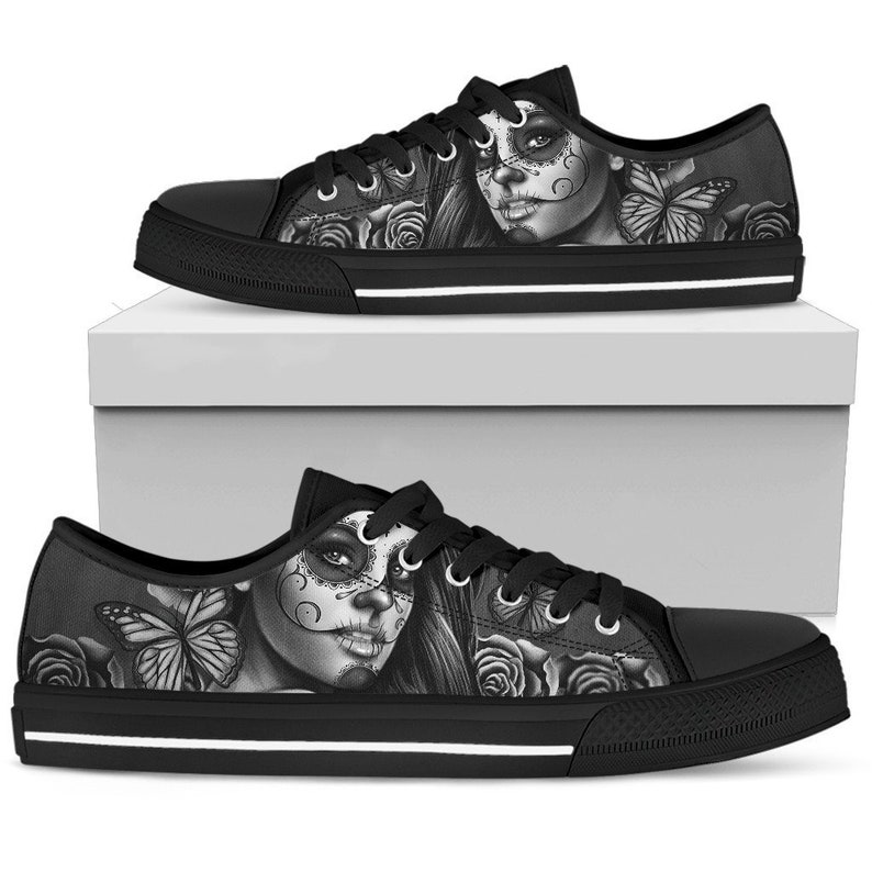 c51b2324b9d Calavera Sugar Skull Low Top Women's Canvas Shoes -Day of the Dead Sugar  Skulls Low Top Sneakers -Casual Shoes -Gothic Shoes