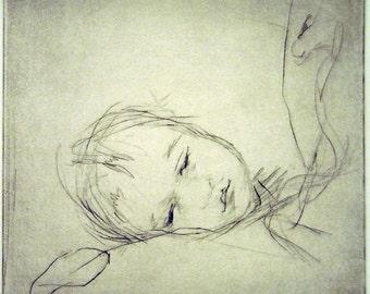 "Original art print ""Asleep"". Drypoint. 15x15 cm."