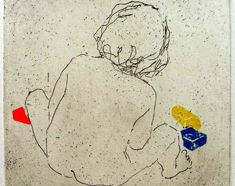 """Original art print """"Bricks"""". Etching, colour added with application of linocut. 10x10 cm. Child playing with bricks."""