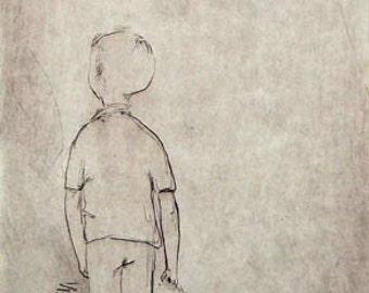 "Original art print ""A walk"". Drypoint. 22x11 cm."