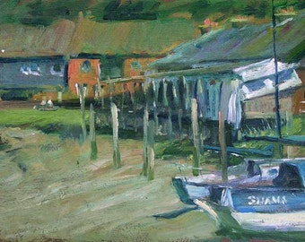 """Painting """"Riverside"""" Oil on board framed. River Brede near Rye East Sussex painted au plein air."""