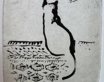 """Original art print """"Moorka"""". Sugar lift aquatint. 10x10 cm."""
