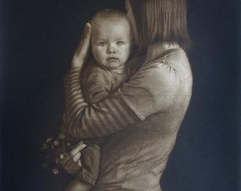 "Original art print ""Mother and Child"". Mezzotint. 40x35 cm."