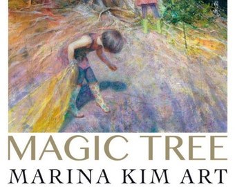 """Poster of an original painting by Marina Kim """"Magic Tree"""" Children in the woods, kids exploring, childhood, fantasy, magic, mystery"""