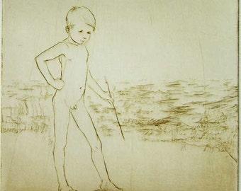 "Original art print ""Artist By The Sea"" - 1. Drypoint. 15x15 cm."