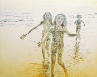 "Original art print ""The Catch"". Drypoint. 50x20 cm."