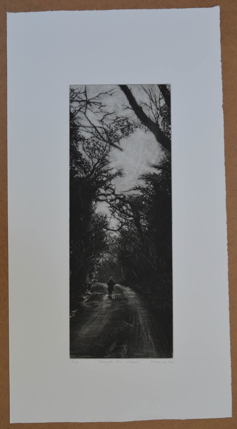Original art print Through The Woods Mezzotint Little child with scooter walking through woods Landscape picture unframed or framed