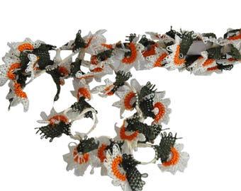 40 handmade  OYA Needle Lace Sun Flowers Trim DIY Project flower