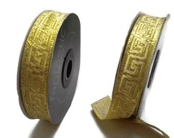 50m 50 metres cream off white gold classic greek key woven ribbon trim