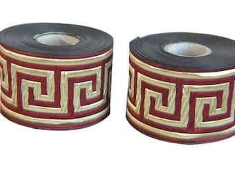 Burgundy and Gold Satin  Greek Key Jacquard Ribbon  Trim