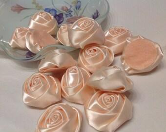 Blush satin fabric flower trim bridal wedding accessory trims 10 pc Satin Roses Pin Brooch Hair Accessory Baby Girls Bow Headband Quilting
