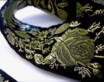 Black jacquard ribbon with green rose