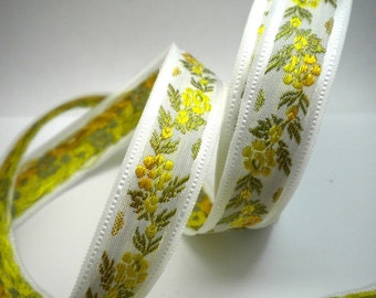 CLEARANCE SALE  50 discount  Satin Floral Jacquard Ribbon Trim Yellow and Orange Flowers 1.09 yard