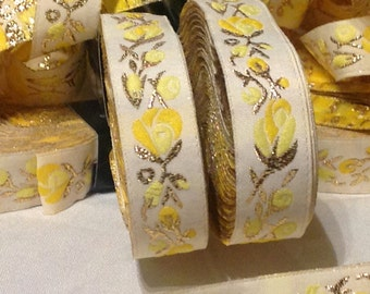 CLEARANCE SALE  50 discount    Floral Jacquard Ribbon Trim with Yellow flowers  Flowers