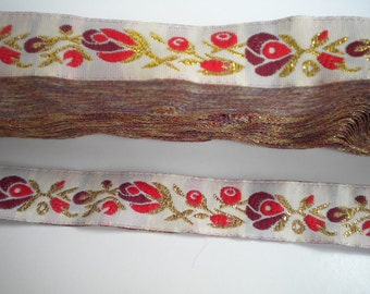 CLEARANCE SALE  50 discount  Floral Jacquard Ribbon Trim with Red Gold and Burgundy  Flowers 1.09 yard