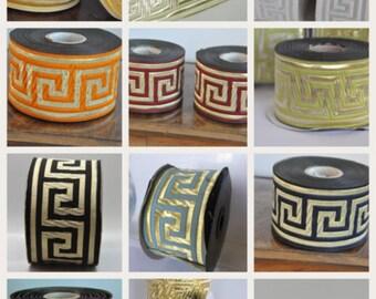 2 '' -50 mm Polyester  Satin  Reversible  Greek Key Jacquard Ribbon  Trim