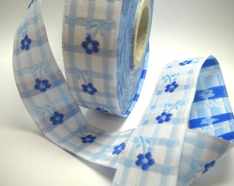 CLEARANCE SALE  50 discount   Satin Jacquard Ribbon Trim with Blue Daisy Flowers