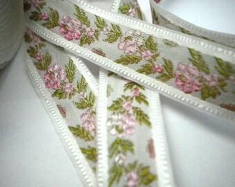 CLEARANCE SALE  50 discount   Floral Jacquard Ribbon Trim Fushia and Pink  Flowers 1.09 yard